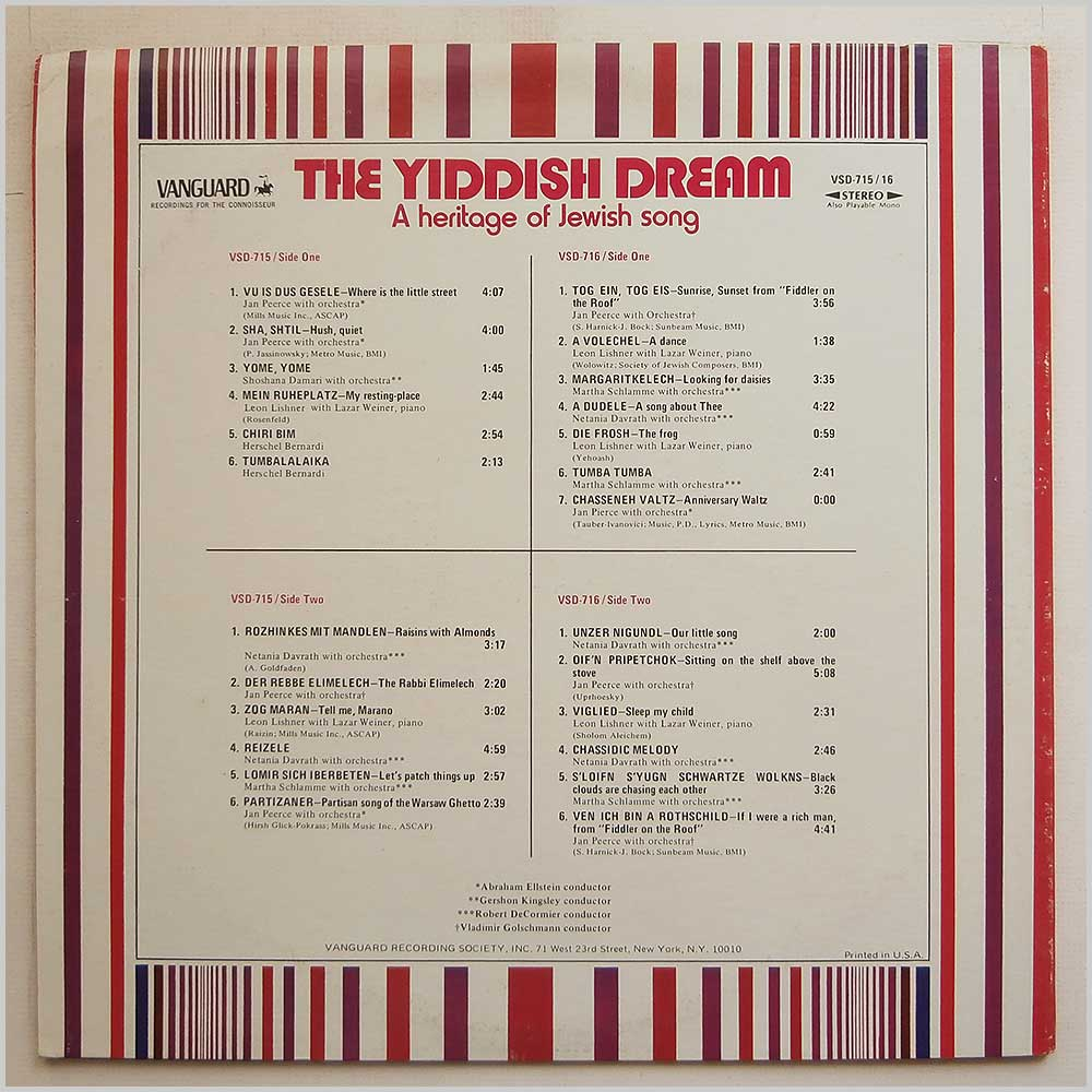 Various - The Yiddish Dream A Heritage Of Jewish Song (VSD-715/16)