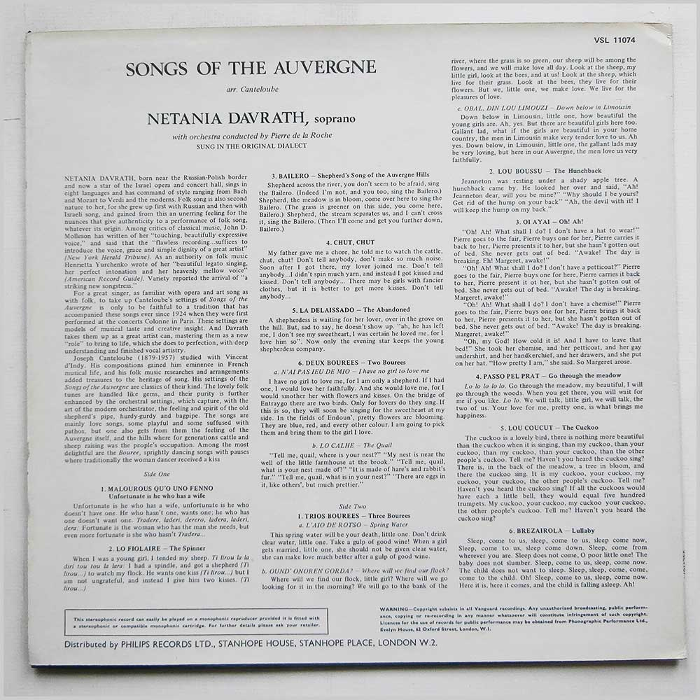 Netania Davrath - Songs Of The Auvergne Vol 1 (VSL 11074)