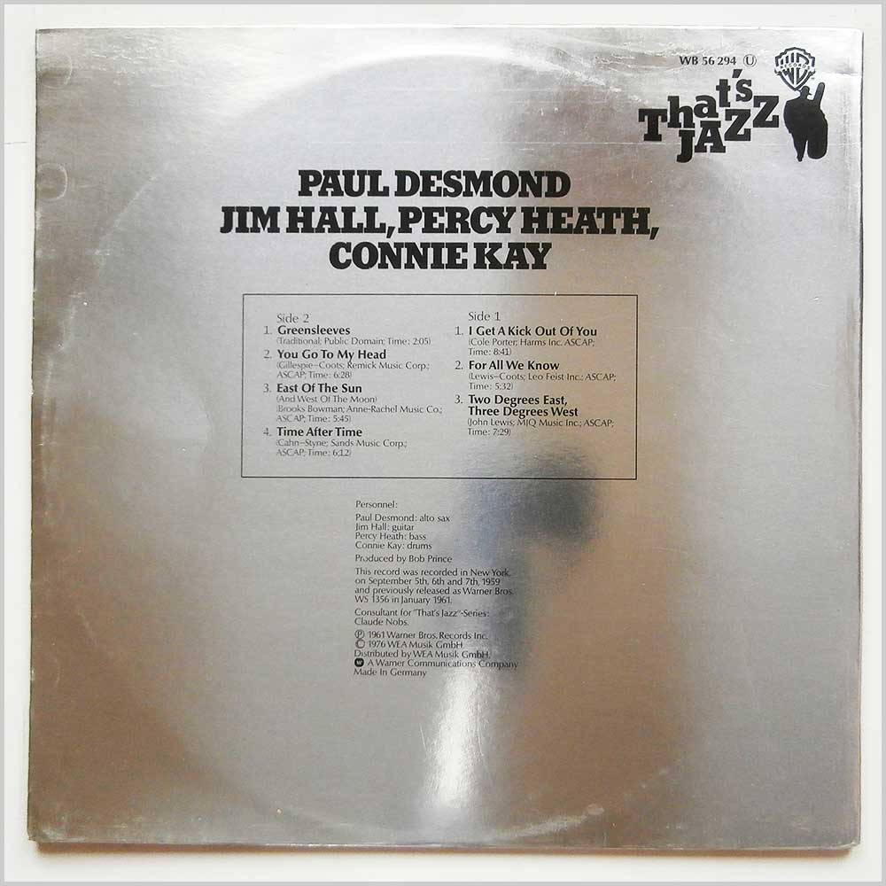 Paul Desmond - That's Jazz: Paul Desmond, Jim Hall, Percy Heath, Connie Kay (WB 56 294)