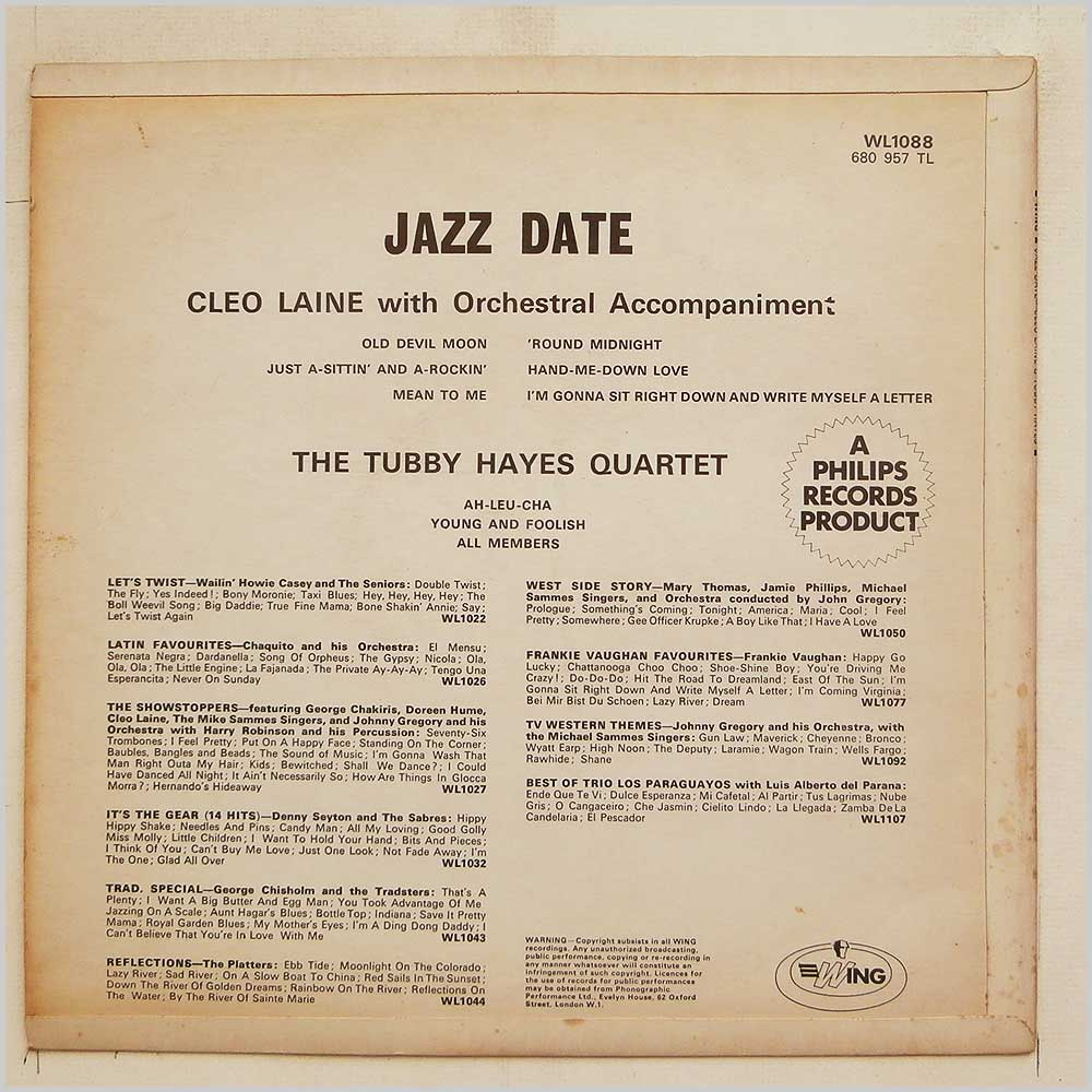 Cleo Laine, The Tubby Hayes Quartet - Jazz Date (WL1088)