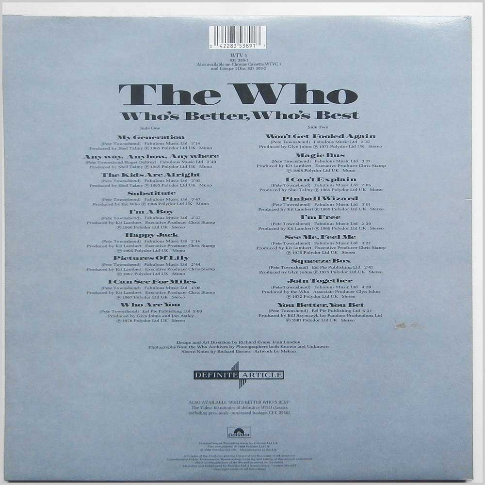 The Who - Who's Better Who's Best (WTV 1)