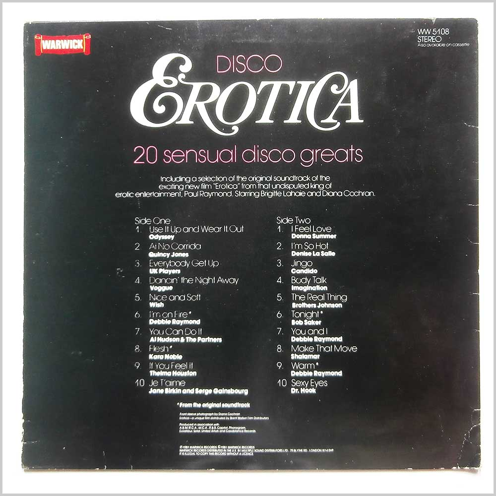 Various - Disco Erotica: 20 Sensual Disco Greats (WW5108)