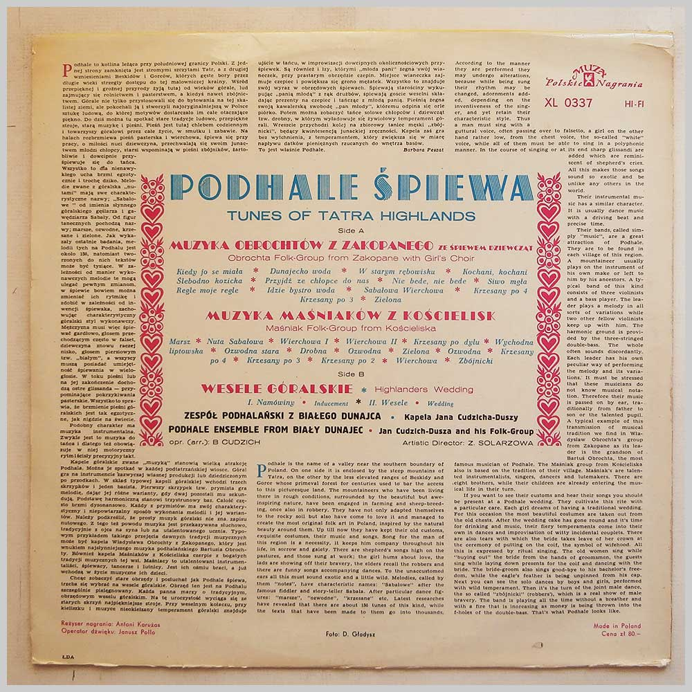 Podhale Spiewa - Tunes Of Tatra Highlands (XL 0337)