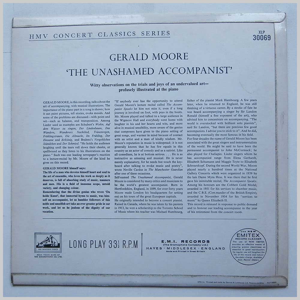 Gerald Moore - The Unashamed Accompanist (XLP 30069)