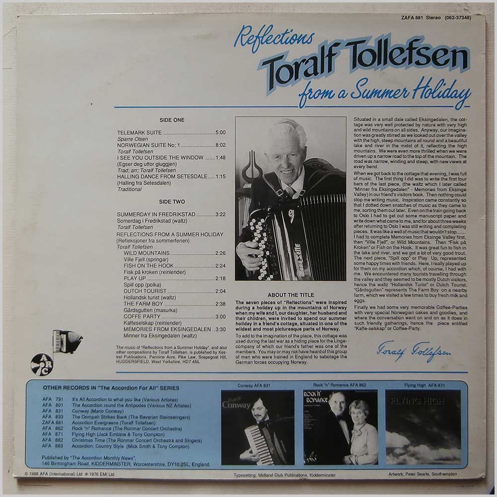Toralf Tollefsen - Reflections From A Summer Holiday (ZAFA 881)