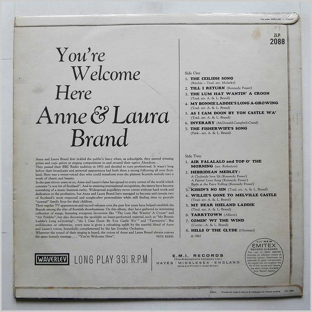 Anne and Laura Brand - You're Welcome Here (ZLP 2088)