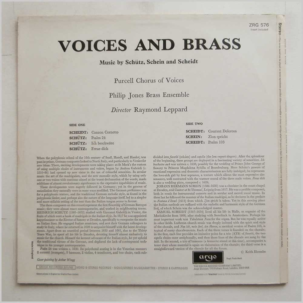 Purcell Chorus and Philip Jones Brass Ensemble - Voices And Brass (ZRG 576)