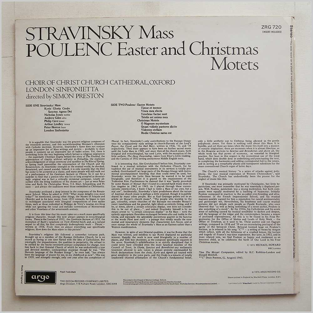 Choir Of Christchurch Cathedral - Stravinsky; Mass, Poulenc; Easter and Christmas Motets (ZRG 720)