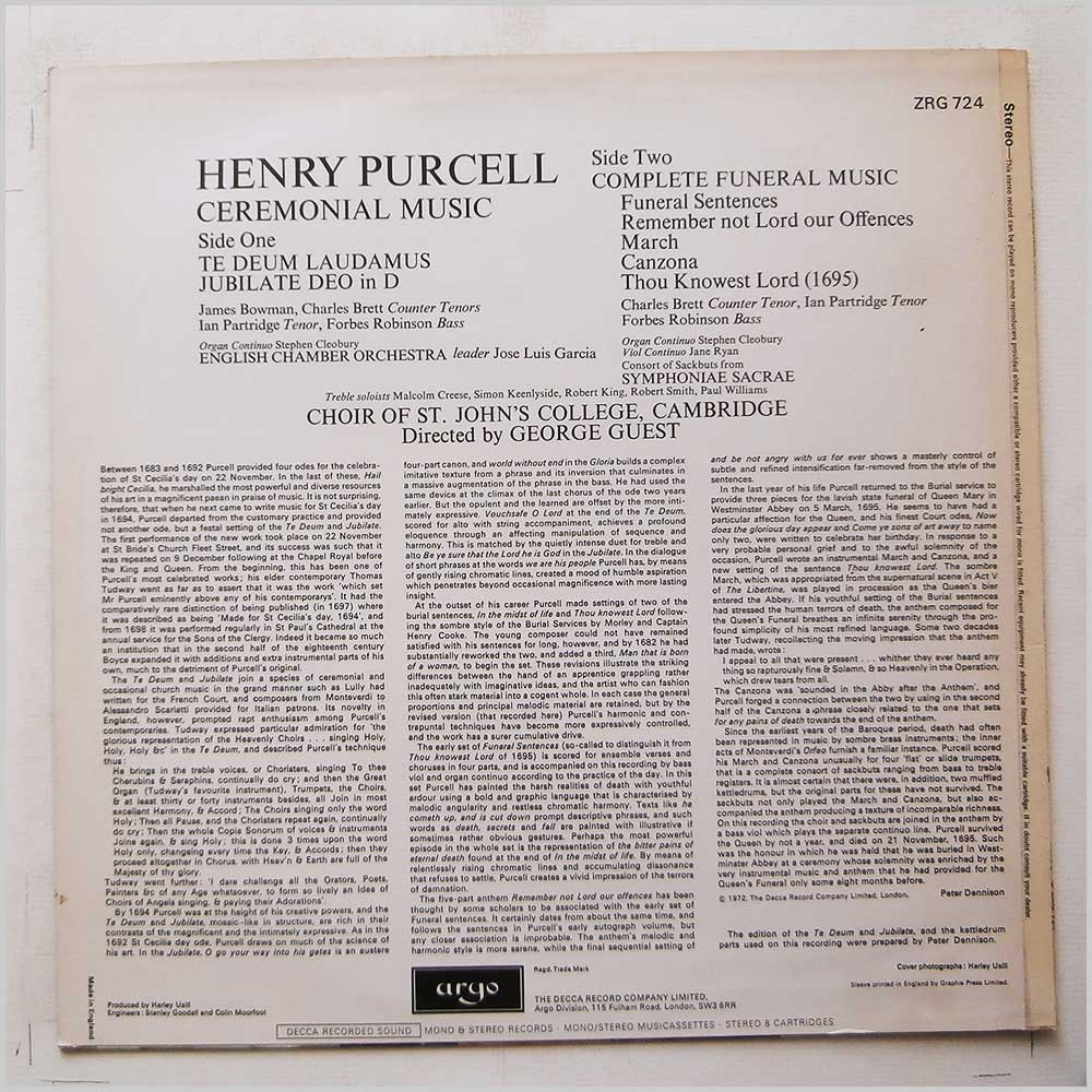 George Guest, The Choir Of St John's College Cambridge - Purcell: Ceremonial Music (ZRG 724)
