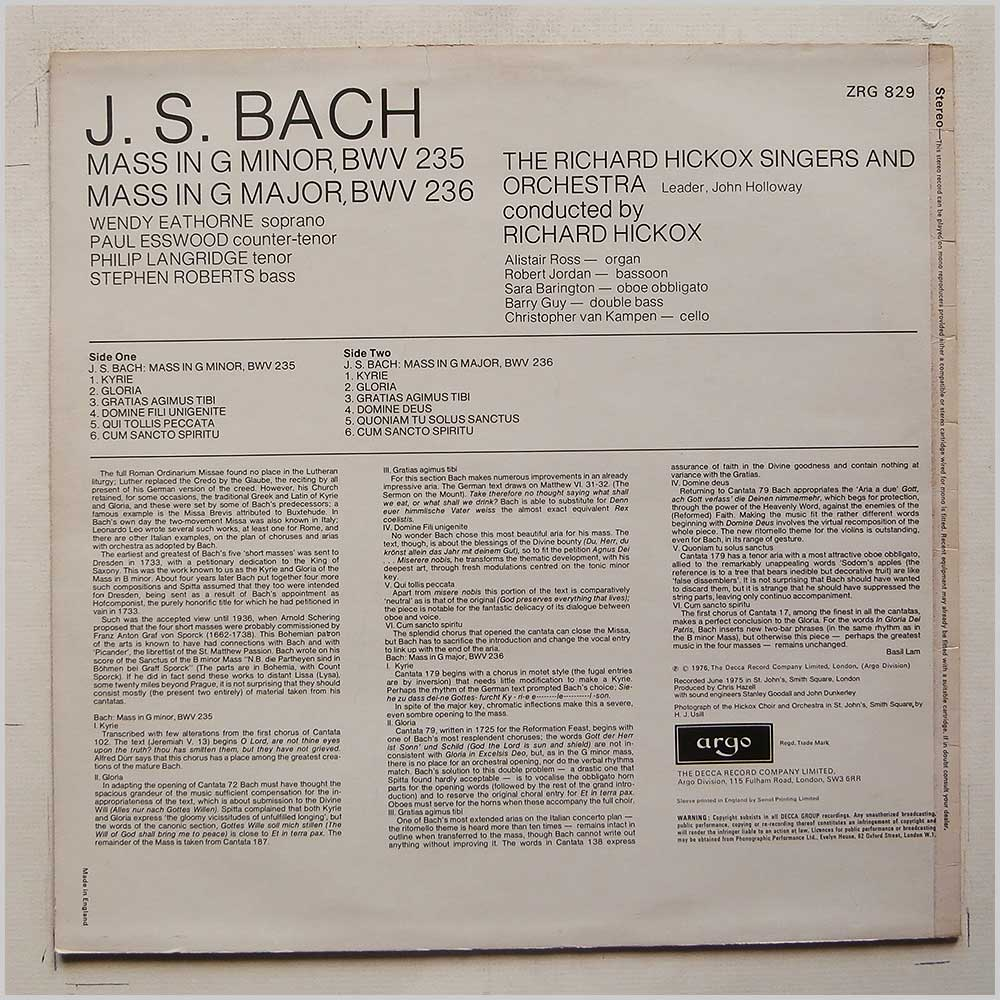 The Richard Hickox Singers and Orchestra - J.S. Bach: Mass in G Minor, BWV 235, Mass in G Major, BWV 236 (ZRG 829)
